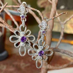 JUDITH RIPKA Amethyst flower earrings